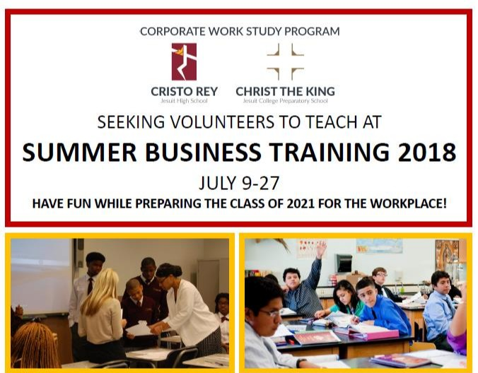 Volunteer to Teach at Summer Business Training 2018